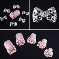 nail art decorations 10 x Silver 3D Rhinestones Bow Tie Nail Art Glitter Slices DIY New   Nail Tools  Nail Art Accessories  #Affiliate
