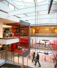 Galvanized carbon steel bars stabilize the suspended walkway of Gensler's LA Office