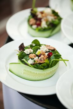 "Use sliced cucumber as ""bowls"".  What an elegant way to serve salad!  Photography by scottstater.com"