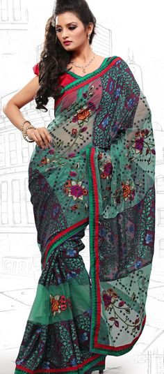 $64.46 Navy Blue and Teal Blue Brasso and Net Latest Fashion Saree 16714 With Unstitched Blouse