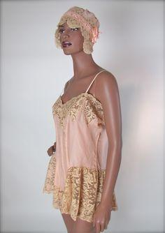 French Vintage Silk Teddy & Cap Wedding Trousseau, Early 20's