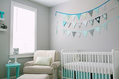 Sweet and Lovely Grey Baby Nursery Room Decorations : Attractive Grey Baby Nursery Design with Grey Wall Painting and White Baby Crib also Comfy Creamy White Sofa and Round Small Sky Blue Table Turquoise Nursery, Aqua Nursery, Nursery Twins, Baby Nursery Decor, Nursery Design, Nursery Room, Nursery Ideas, Room Ideas, Baby Boy Rooms