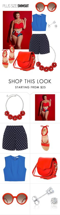 """""""Untitled #105"""" by adriana-wilson ❤ liked on Polyvore featuring Lela Rose, Zizzi, Vince Camuto, Alice + Olivia, Rebecca Minkoff, Alexander McQueen, Amanda Rose Collection, stylishcurves and plussizeswimsuit"""