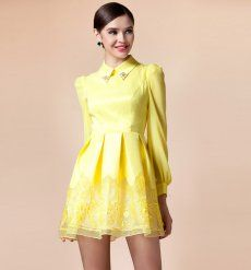 J73106 Europe Fashion Doll Collar Sweet Organza Long Sleeve Dress