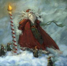 North Pole Santa and tiny elves!