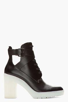Alexander Wang Black Jill Platform Cutout Boots for women | SSENSE