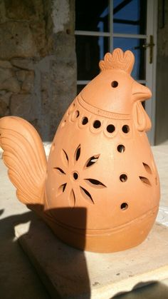 P Ceramic Owl, Ceramic Pottery, Clay Animals, Hens, Paper Mache, Terracotta, Biscuit, Rooster, Diy And Crafts