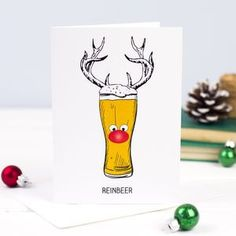 This funny beer Christmas card is the ideal way to wish Happy Christmas to a beer loving friend or relative!The Christmas beer cards can be bought singularly or in packs of 6 or This design is also available as an apron and Christmas jumper. Christmas Greetings Quotes Funny, Funny Christmas Cards, Christmas Cards To Make, Christmas Quotes, Christmas Humor, Diy Christmas Cards For Boyfriend, Cadeau Parents, Christmas Cards Drawing, Christmas Beer