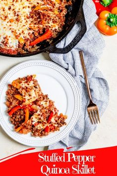 This Stuffed Pepper Quinoa Skillet is everything you love about classic stuffed peppers made conveniently as a one-skillet meal! The skillet is packed with sautéd red, orange and yellow bell pepper slices, onions, garlic, ground beef, crushed tomatoes and tricolored quinoa topped with mozzarella cheese. #oneskilletmeals, #stuffedpepperskillet, #30minutemeals Quinoa Stuffed Peppers, One Skillet Meals, Nut Free, Dairy Free, Ground Beef, Cup Of Cheese, Recipe Boards, 30 Minute Meals, How To Cook Quinoa