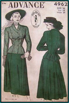Advance 4962-1948 Vintage Sewing Patterns 1940s Advance Suits Jackets Skirts Peplum Shawl Collar