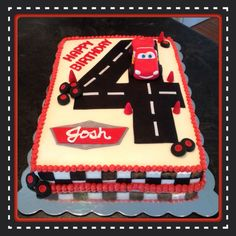 Disney Cars Cake - Toys for years old happy toys Disney Cars Cake, Disney Cars Birthday, Mickey Birthday, Cars Birthday Parties, Lightening Mcqueen Birthday Cake, Lightning Mcqueen Cake, Blaze Birthday Cake, Mario Birthday Cake, Monster Truck Party