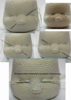 nose shaping for amigurumi cro pattern. - crochet nose shaping for amigurumi cro pattern. Crochet Amigurumi, Crochet Doll Pattern, Afghan Crochet Patterns, Amigurumi Patterns, Amigurumi Doll, Crochet Dolls, Crochet Yarn, Crochet Afghans, Crochet Blankets
