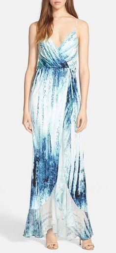 'Halle' High/Low Print Maxi Dress