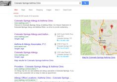 "Infront Webworks SEO client CS Allergy and Asthma ranking first page of Google under term ""Colorado Springs Asthma Clinic""."