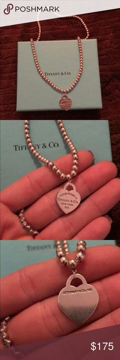 Tiffany & Co Return to Tiffany Bead Necklace This is an authentic Tiffany & Co Return to Tiffany Bead Necklace. Shows very minimal signs of ware, needs a good polishing! Comes with box! Tiffany & Co. Jewelry Necklaces