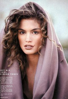 cindy crawford // British Vogue // Patrick Dermatchelier brown hair, lilac colors