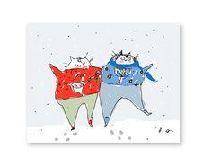 Christmas and Hanukkah Card Holiday Cat Card by jamieshelman