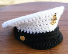 FREE Pattern, 0-3, Military Hat, Crochet Pattern, Military Dress Hat, Dress Cap, Dress Whites, PDF, Baby Militay Hat, Photo Prop, Police Hat