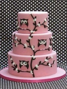 Owl cake designs are a good choice for kids birthday cake, but can be also found as part of a graduation or some anniversary cake designs. Pretty Cakes, Cute Cakes, Beautiful Cakes, Amazing Cakes, Beautiful Owl, Amazing Birthday Cakes, Yummy Cakes, Owl Cakes, Baby Cakes
