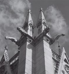 Untitled [detail of church towers, projecting gargoyles, France?], ca. 1974 by Ansel Adams 84.90.180