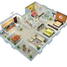 Three bedroom house blueprints 3 bedroom house designs and f 3d House Plans, Model House Plan, House Layout Plans, House Blueprints, Small House Plans, House Layouts, Home Plans, Indian House Plans, House Design 3d