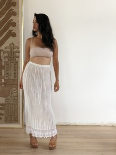 vintage pleated skirt with lace trim one size, elasticized waist USA made All Sale, Pleated Skirt, Lace Trim, Im Not Perfect, Two Piece Skirt Set, Unique, Skirts, How To Make, Vintage