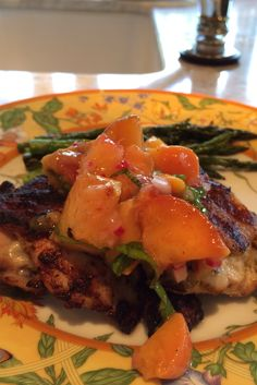 Grilled Chicken Thighs with Peach Basil Salsa Delicious Catering, Grilled Chicken Thighs, Basil, Hamburger, Salsa, Grilling, Peach, Ethnic Recipes, Food
