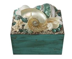 Aqua Blue and Pearl Nautilus Beach Decor Shell Box -Seashell Box