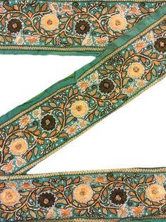 Modest Sanskriti Vintage Saffron Sari Border Hand Embroidered Indian Craft Trim Lace Linens & Textiles (pre-1930)