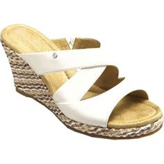 Womens Rockport Emily Wedge Heels White - $79.95 ONLY. White Wedge Heels, White Wedges, Sandals, Shoes, Women, Fashion, Slide Sandals, Moda, Zapatos