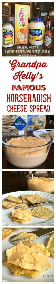 Horseradish Cheese Spread - Only 4 Ingredients (Grandpa Kelly's Famous Recipe) Dip Recipes, Cheese Recipes, Snack Recipes, Roast Recipes, Recipes Dinner, Holiday Recipes, Appetizer Dips, Appetizer Recipes, Cheese Appetizers
