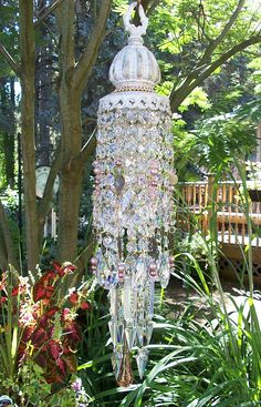 Jeweled Victorian Garden Antique Crystal Wind Chime