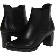 ECCO Saunter 65 Chelsea Boot (4.090 UYU) ❤ liked on Polyvore featuring shoes, boots, ankle booties, ankle boots, black, black kalahari, black bootie boots, high heel ankle boots, short black boots and black chelsea boots