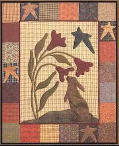 Primitive Folk Art Banner Pattern: PRIMITIVE BANNERS - 4 Seasonal DESIGNS - Fabric and Wool Applique