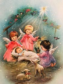 Vintage Christmas Card~Angel Children Adore Baby Jesus~Birds~Sheep~Star – Kerst - To Have a Nice Day Christmas Scenes, Christmas Nativity, Christmas Past, Christmas Angels, Christmas Greetings, Christmas Crafts, Christmas Decorations, Christmas Island, Christmas Music