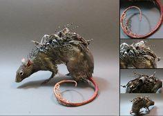 Plague rat sculpture by artist Ellen Jewett, commissioned artwork