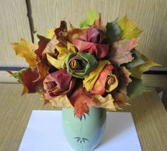 maple leaf roses bouquet as fall decoration at home