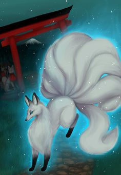 Inari Kitsune by Butterfly-Kitsune Mythological Creatures, Fantasy Creatures, Mythical Creatures, Japanese Fox, Japanese Folklore, Arte Furry, Furry Art, Fox Spirit, Legendary Creature