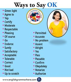 Different Ways To Say OK in English - English Grammar Here English Sentences, English Idioms, English Phrases, English Grammar, English English, Essay Writing Skills, English Writing Skills, Writing Words, Sms Language