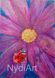 """ND-089-61, """"Nydia Dominguez"""", """"The Resting Place - ACEO"""" , """"flower art"""" $10 original piece"""