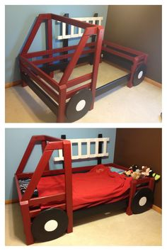 Firetruck bed I designed and built for my son. Boys Bedroom Themes, Kids Bedroom Furniture, Boy Room, Kids Room, Cool Beds For Kids, Baby Room Decor, Kid Beds, Cheap Home Decor, Kids And Parenting