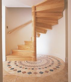 Trendy Ideas for wooden spiral stairs architecture Flooring For Stairs, Concrete Stairs, Basement Stairs, Attic Stairs, Basement Ideas, Round Stairs, Open Stairs, Floating Stairs, Wooden Staircases