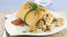 Turn rotisserie chicken into a flavorful chicken salad tucked into a flaky crescent roll.