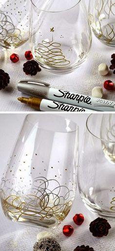 Sharpie Christmas Glasses SO CUTE!!