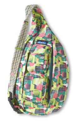 KAVU Rope Sling-Mossy Moss-100��0Polyester. The KAVU Rope Bag's fraternal twin the only difference is the fabric. Adjustable rope shoulder strap, two vertical zip compartments, two zip key/phone pockets, padded back with KAVU embroidery and ergonomic design to fit the body like a bag should.