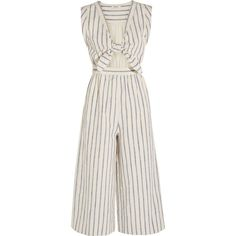 Madewell Tie-front cutout linen and cotton-blend jumpsuit (370 BGN) ❤ liked on Polyvore featuring jumpsuits, dresses, madewell, pants, rompers, ecru, striped jumpsuit, white romper jumpsuit, cut out jumpsuit and romper jumpsuit