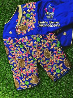 Stunning royal blue color designer blouse sleeves with floret lata design hand embroidery thread work. Cutwork Blouse Designs, Wedding Saree Blouse Designs, Pattu Saree Blouse Designs, Fancy Blouse Designs, Blouse Neck Designs, Sleeves Designs For Dresses, Stylish Blouse Design, Designer Blouse Patterns, Embroidery Blouses