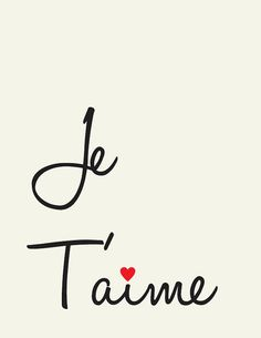 Je T'aime // I Love you // French love quote // Art by LADYBIRDINK, $18.00
