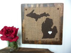 MICHIGAN Burlap wood wall sign BROWN by OldAndNewShoppe on Etsy, $39.00