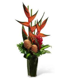 Look at this beautiful Tropics Arrangement from GrowerDirect.com. Featuring vibrant exotic flowers like heliconia, shampoo ginger, red ginger, and more!